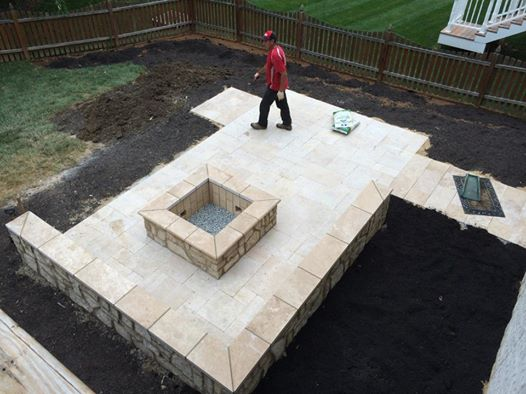 Beau Travertine Patio And Fire Pit Landscaping
