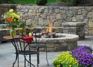Retaining Wall with Patio and Firepit