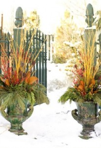 winter garden urns